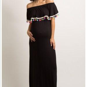 Great festive off the shoulder maternity dress!
